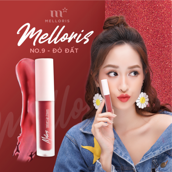 Son Kem Lì Melloris Velvet Lip Cream Cao Cấp Đẹp Lâu Trôi Không Khô Môi Nhỏ Gọn Xinh Xắn