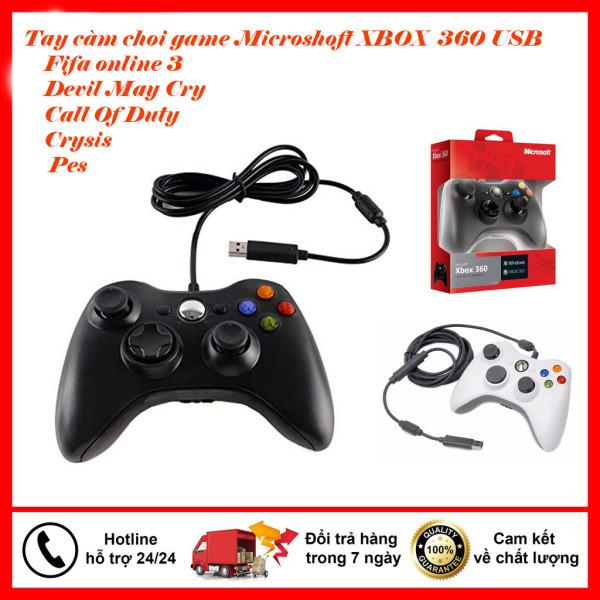 💪FullSkin💪 Tay cầm Xbox 360 Đen, Tay cầm chơi game Pc, Hỗ trợ full skill trong Fifa Online 3, 4 FO4 và tất cả các game trên PC