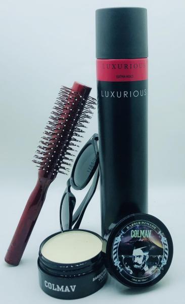 Combo sáp vuốt tóc Colmav + keo luxurios + Lược tròn giá rẻ