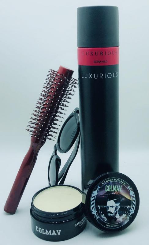 Combo sáp vuốt tóc Colmav + keo luxurios + Lược tròn tặng kèm kính mát thời trang nhập khẩu