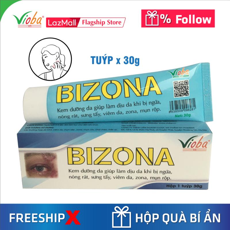 Kem chống dị ứng Đông Y, dưỡng da, giảm ngứa, dùng tốt khi bị zona, viêm da, mụn rộp. Tái tạo da, ngăn ngừa hình thành sẹo trong trường hợp bỏng nhẹ, vết côn trùng cắn, muỗi đốt. Kem bôi Bizona của Vioba, tuýp 30g giá rẻ