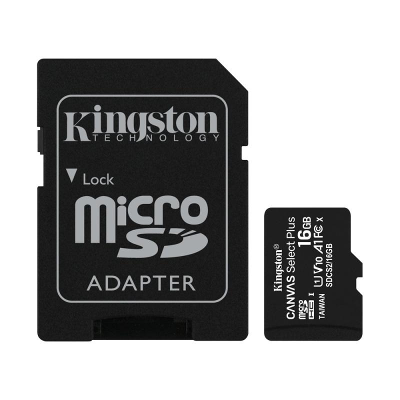 Thẻ Nhớ MicroSDHC Kingston Canvas Select Plus 16GB Class 10 U1 100MB/s SDCS2/16GB (Kèm Adapter)