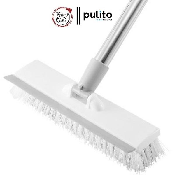 Chổi chà sàn quét nước cán dài xoay 180 độ chính hãng Pulito kết hợp 2 trong 1 cây chà sàn gạt nước 2 đầu thông minh tiện lợi LS-CQN