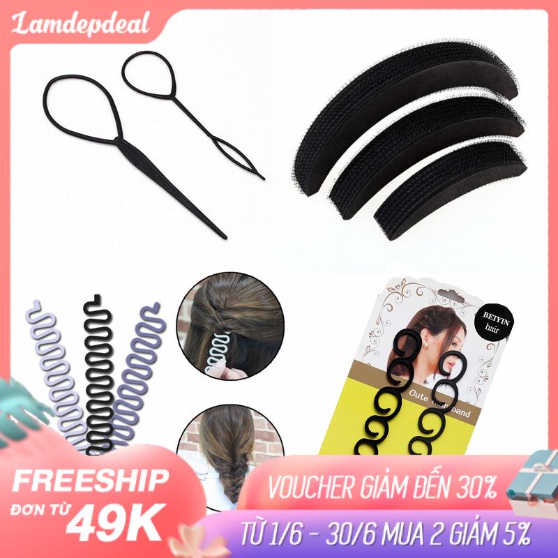 Lamdepdeal -  Combo 4 dụng cụ tạo kiểu tóc cho bạn gái thoải thích sáng tạo kiểu tóc cho riêng mình - Dụng cụ tết tóc, thắt bím tóc - Dụng cụ làm tóc. cao cấp