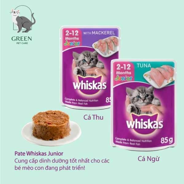 Pate Whiskas Junior cho mèo con vị cá ngừ/cá thu, gói 85gr