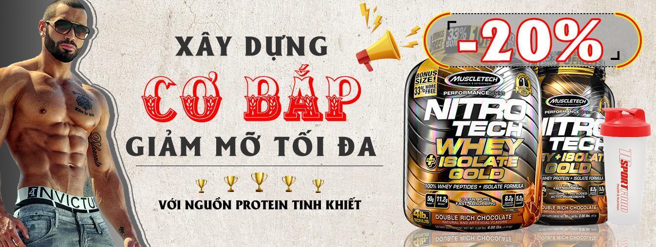 Thực phẩm bổ sung - Sữa Tăng Cơ - Nitro Tech Whey Plus Isolate Gold - hộp 4lbs cao cấp