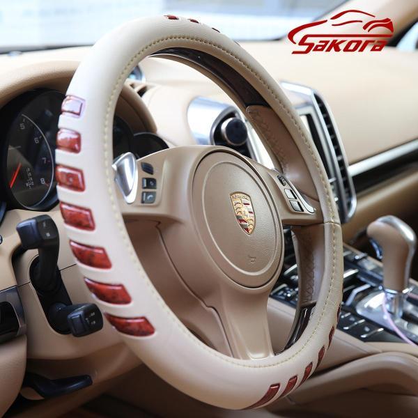 Bọc vô lăng ô tô, Bọc vô lăng da xe hơi vân nổi chất liệu da pu lớp Simili + vòng cao su (Khaki)