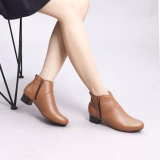 Giày Boot Thấp 3cm Cổ Ngắn 2 Dây Kéo Da Bò Thật Màu Nâu Pixie P697