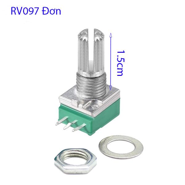 Bảng giá [ 03 Con ] Biến trở chiết áp Volume RV097 cán dài 1.5cm đơn, đôi B10K B50K B100K