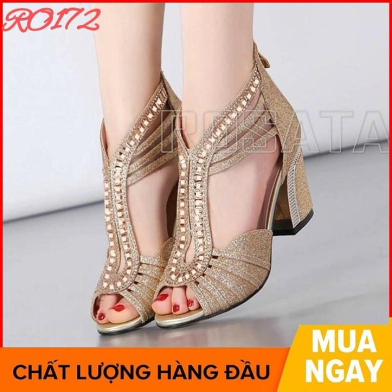 Giày sandal nữ cao gót đế cao 5 phân đẹp màu vàng hàng hiệu rosata ro172 giá rẻ