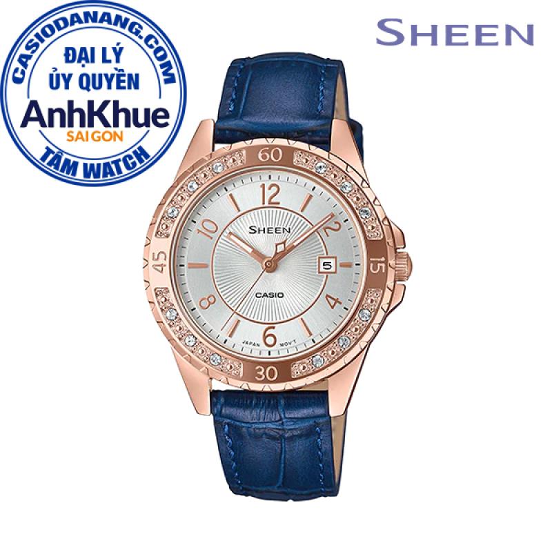 Đồng hồ nữ dây da Casio Sheen chính hãng Anh Khuê SHE-4532PGL-7AUDF (35mm)