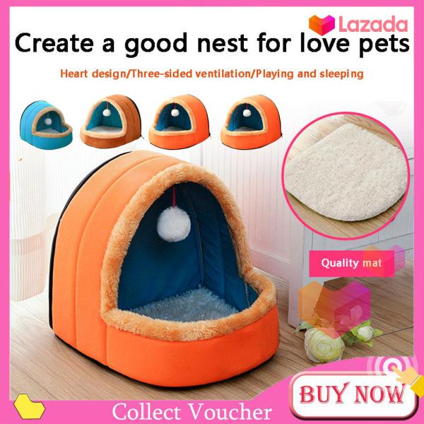 【COD & Ready Stock】Nhà cho thú cưng có kèm bóng treo đồ chơi chất vải mềm mại ấm áp