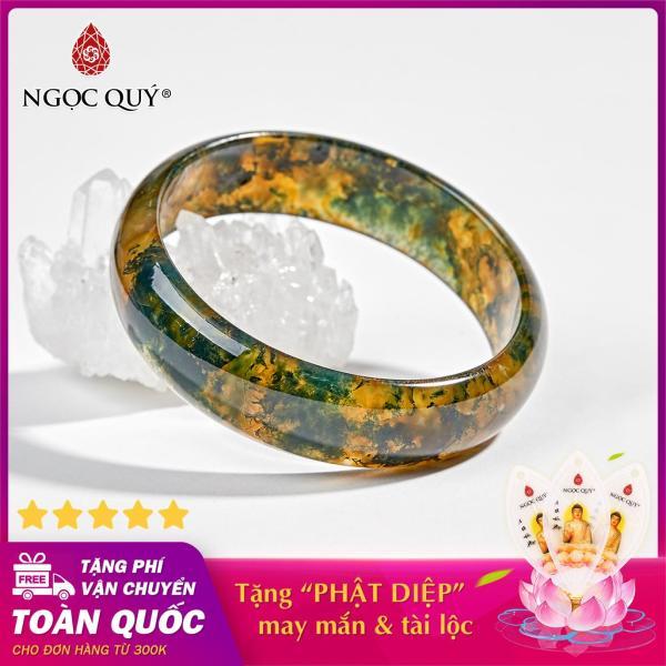 Vòng tay đá băng ngọc thủy tảo huyết Ni 52 - 58 mệnh hỏa,mộc (màu xanh rêu) - Ngọc Quý Gemstones