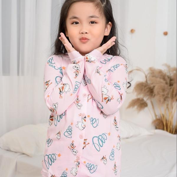 Giá bán Bộ PIJAMA lanh mặc nhà bé gái quần dài áo dài Việt Thắng B70.2002 - Mặc đẹp, thoải mái