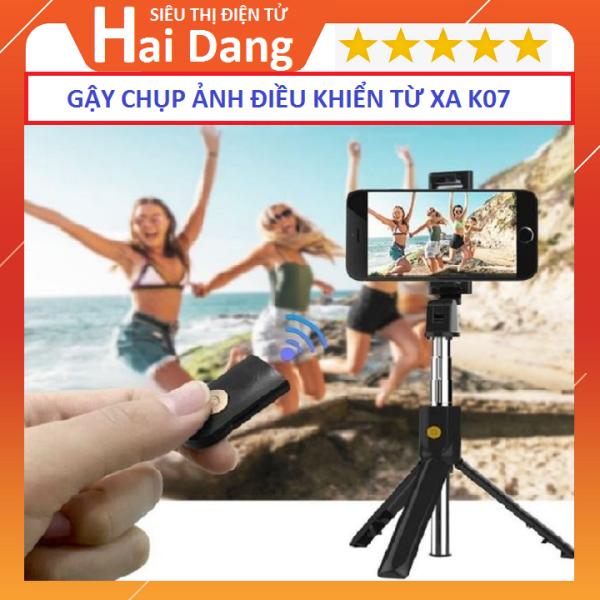 Tripod, Gậy chụp hình tự sướng kiêm giá đỡ điện thoại Tripod K07 , kèm tay điểu khiển Remote Bluetooth 3.0, Gậy Tự Sướng Bluetooth K07, gậy selfie bluetooth - gậy chụp ảnh - gậy chụp ảnh tự sướng