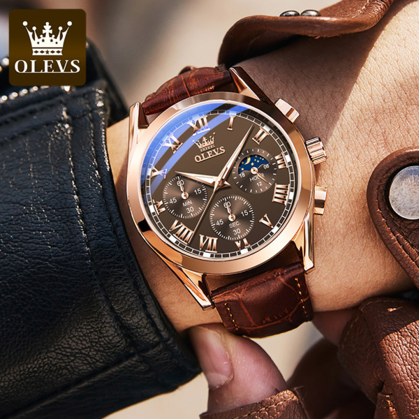 Đồng hồ thạch anh OLEVS cao cấp dành cho nam doanh nhân chất liệu chống nước dây da thời trang bán chạy
