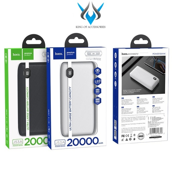 [HCM]Pin sạc dự phòng Hoco J53A Exceptional 20000mAh 2 cổng input 2 cổng output max 2A màn hình LCD - Hãng phân phối chính thức - Phụ Kiện 1986