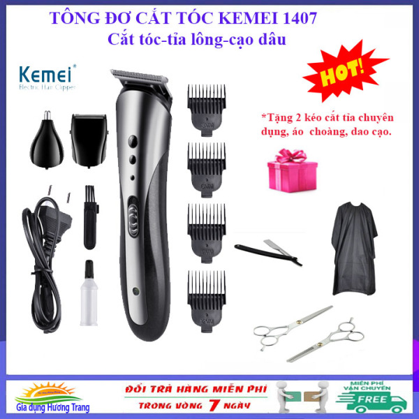 [QUÀ TẶNG HẤP DẪN]Tông đơ cắt tóc chuyên nghiệp, cạo râu, tỉa lông mũi Kemei 1047, tăng đơ cắt tóc hớt tóc gia đình, + tặng 2 kéo cắt tỉa, áo choàng, dao cạo.
