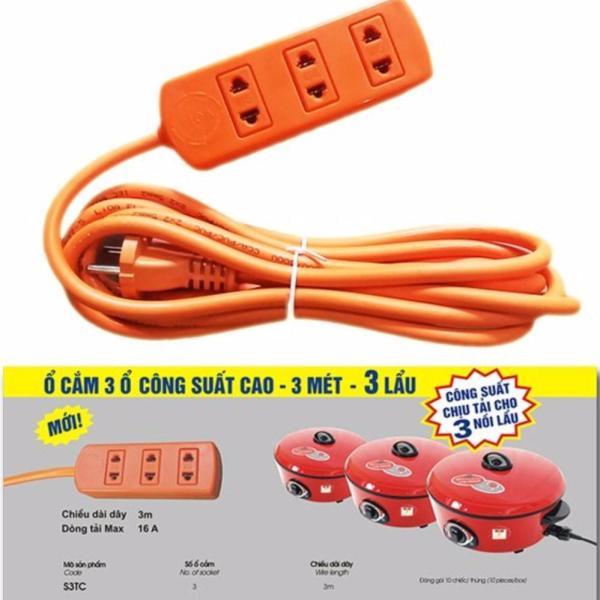 Ổ Cắm Điện LIOA 3 Ổ Công Suất Lớn Chịu Tải 3 Nồi Lẩu S3TC 3m S3TC