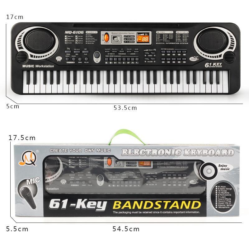 Đàn Piano dành cho trẻ em MQ 6106 - 61 phím có Micro có tặng kèm Pin ĐÀN