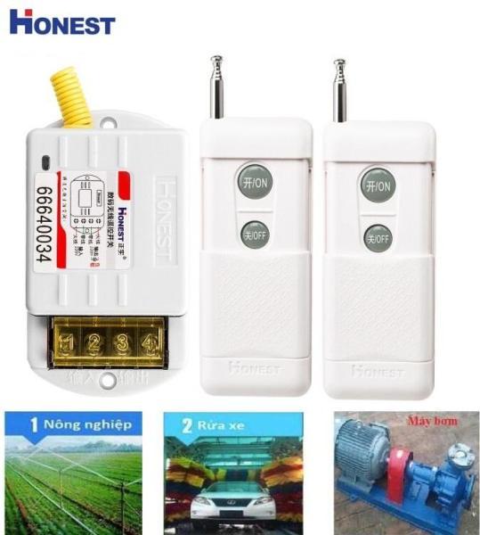 Công tắc điều khiển từ xa 1KM công suất lớn 30A/220V Honest HT-6220ZRD (2 ĐIỀU KHIỂN) công tắc điều khiển từ xa honest cho máy bơm, động cơ, điều hòa, bình nóng lạnh.công tắc wifi, công tắc điện thông minh, ổ cắm điều khiển từ xa