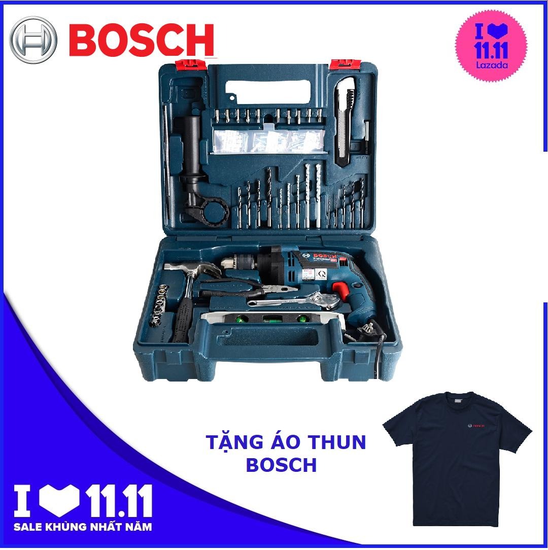 Máy khoan động lực Bosch GSB 13 Re set và Bộ 100 chi tiết Tặng áo thun Bosch