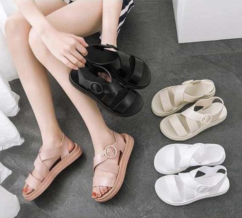 Giày Sandal Giày Nữ Quai Ngang Nữ Giày Quai Hậu Đế Bằng Nữ Phong Cách Nữ Sinh Ngọt Ngào 1801 giá rẻ