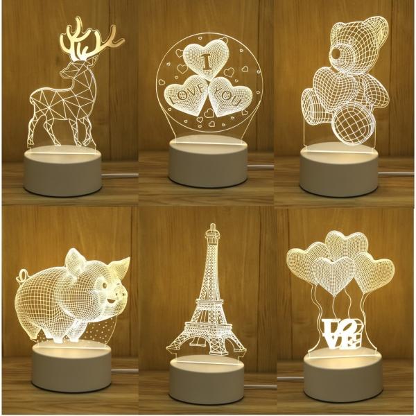 Đèn ngủ LED 3D - trang trí bàn - quà tặng độc đáo. Kích thước đèn nhỏ gọn phù hợp khi để đầu giường hoặc trang trí góc phòng.