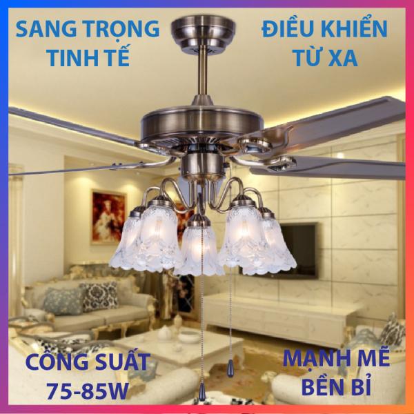 Quạt trần đèn chùm Vinta A191-1, 5 cánh thép màu đồng, có điều khiển từ xa, quay đảo chiều độc đáo + Ưu đãi mua sản phẩm phụ giá gốc