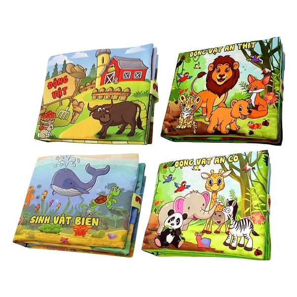 Mua Bộ 4 Sách Vải Pipo kích thích trí não cho bé : Sinh Vật Biển - Động Vật Ăn Cỏ - Ăn Thịt - Động Vật Nuôi ( Tặng kèm cuốn Những Câu Chuyện Kinh Điển )