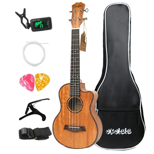 Concert Ukulele Kits 23 Inch Mahogany 4 String Mini Hawaiian Small Guitar with Bag for Beginner