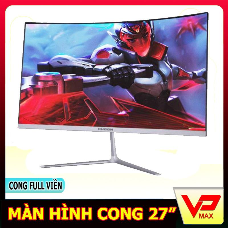 Màn hình máy tính cong full viền LCD 27 inch Hugon QS270 IPS 75Hz Gaming Monitor Full HD (1920x1080) treo tường được cổng kết nối HDMI VGA 3.5mm Audio output