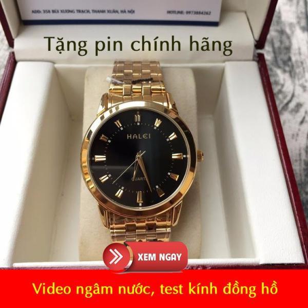 [VIDEO TEST CHẤT LƯỢNG] Đồng hồ nam halei 502 vàng mặt đen chống nước, chống xước