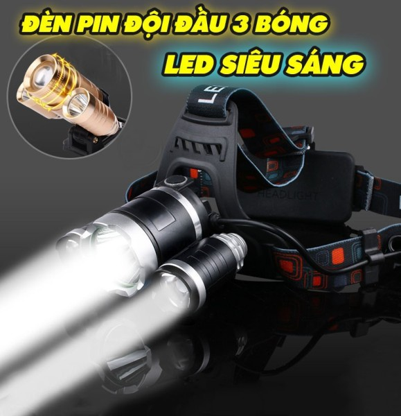 (HÀNG CAO CẤP) Đèn pin đội đầu 3 bóng siêu sáng kèm củ sạc bin tiện dụng