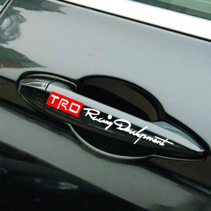 Bộ 4 tem dán tay nắm cửa xe ô tô TRD (trắng)