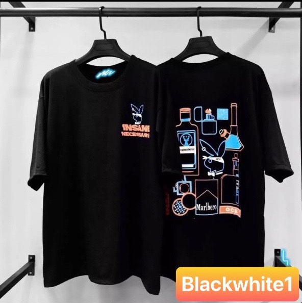 [HCM]Áo Thun PLAY BOY Unisex In 3D From Rộng Nam Nữ Hot Trend Độc Lạ Blackwhite1
