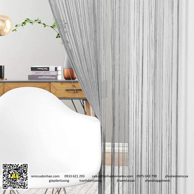 Rèm sợi chỉ trơn màu xám 3m*3m Rèm sợi chỉ trang trí nhà hàng, shop, spa tiệc cưới