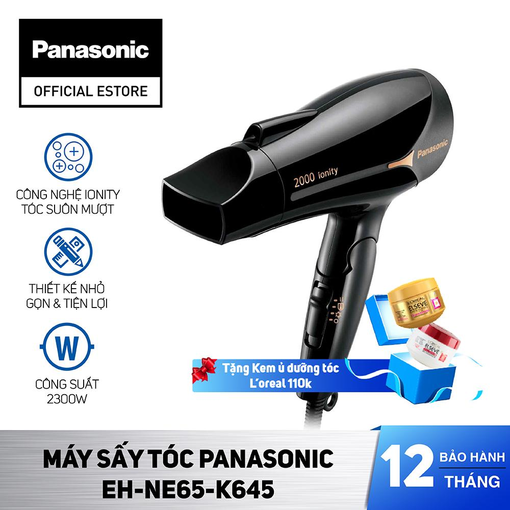 [TẶNG Kem ủ dưỡng tóc Loreal 110k] Máy Sấy Tóc Panasonic EH-NE65-K645 - Công suất 2000W, chế độ sấy Ion - Bảo Hành 12 Tháng - Hàng Chính Hãng cao cấp