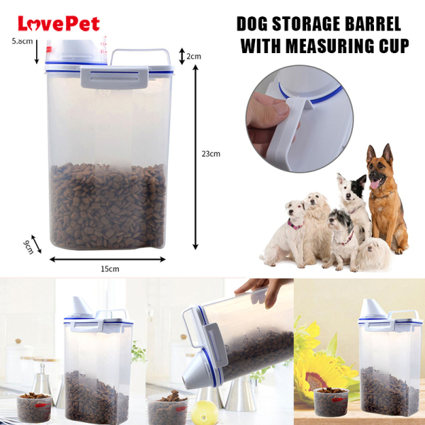 LPH Pet Food Storage Container Airtight Dog Cats Foods Container with Measuring Cup Clear 2.5L