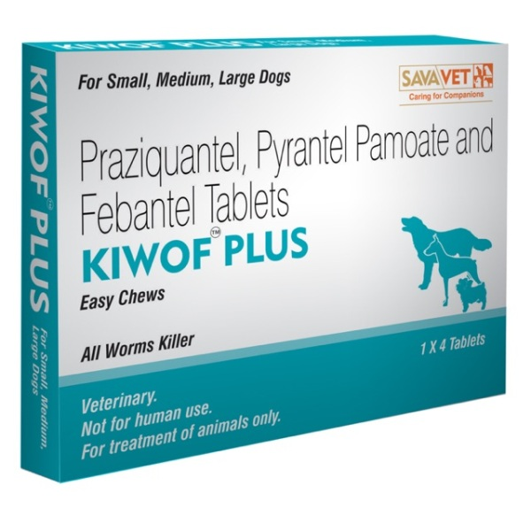 Xổ giun sán chó Kiwof Plus - Hộp 4 viên