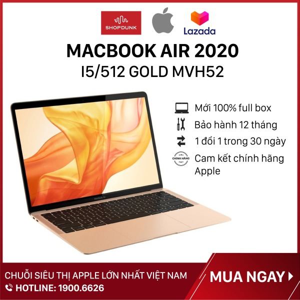 Bảng giá Laptop Macbook Air 13 inch 2020 core i5 8GB/512GB (MVH22, MVH42, MVH52), Hàng chính hãng Apple, Mới 100%, Nguyên seal ( Chưa Kích Hoạt) - Shopdunk Phong Vũ