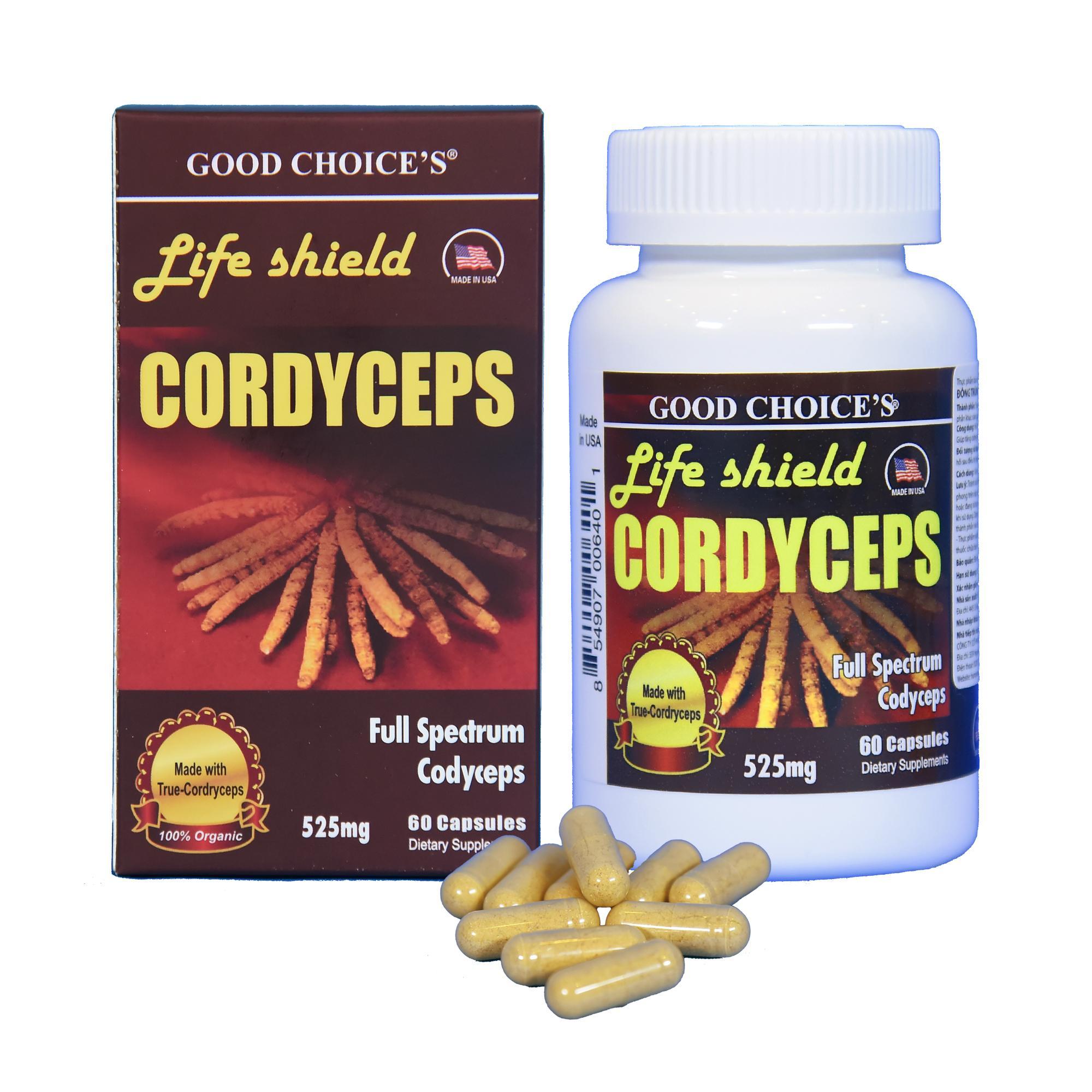 Đông trùng hạ thảo viên nang - Life Shield Cordyseps nhập khẩu từ Mỹ nhập khẩu