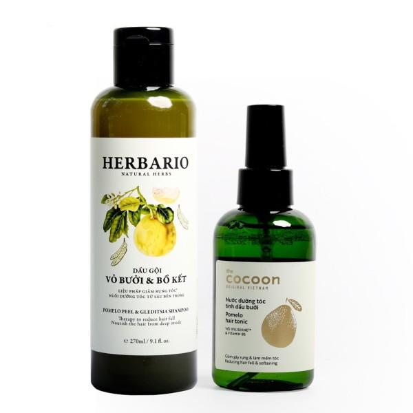 Combo dầu gội vỏ bưởi bồ kết Herbario 270ml và xịt bưởi Pomelo 140ml giảm rụng tóc, phục hồi hư tổn giá rẻ