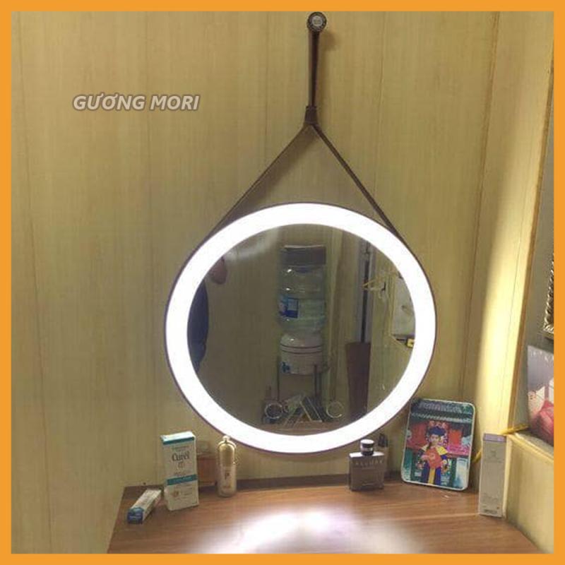 ( SIZE 50cm) GƯƠNG TRÒN VIỀN DA ĐÈN LED PHUN CAT (viền da màu đen-ánh sáng đèn led màu trắng)