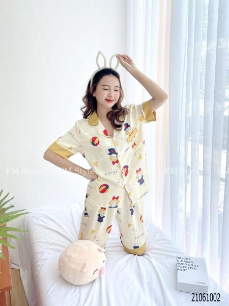 Nơi bán Đồ bộ nữ pijama FM Style hoạ tiết bò sữa chất lụa mịn mát_21061002