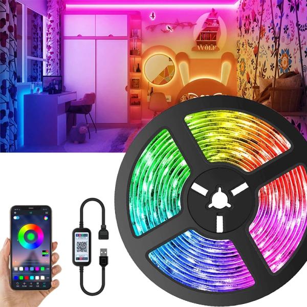 Dải băng đèn LED màu neon RGB SMD5050 sử dụng Bluetooth có điện áp 5V