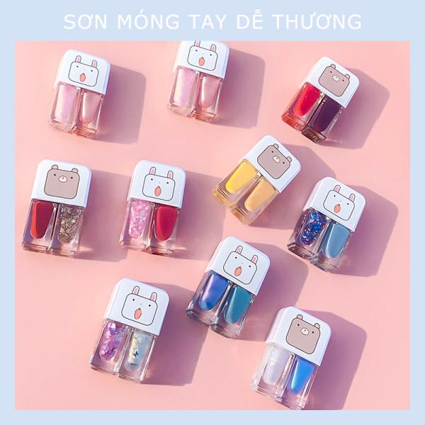 【Urbaeuty Mall】Combo 2 lọ sơn móng tay siêu kute- sơn nhanh khô mùi thơm nhẹ nhàng, lâu bong tróc giá rẻ