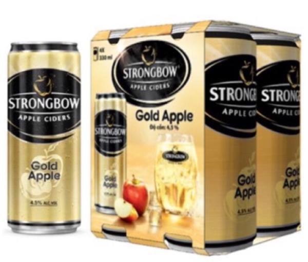 6 lon strongbow táo gold apple 330ml