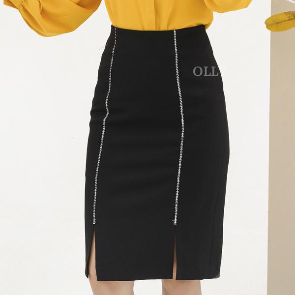 [12/12 SIÊU SALE HÀNG HIỆU] Chân váy bút chì dáng ôm xẻ 2 bên viền trang trí OLLY OCV19.016