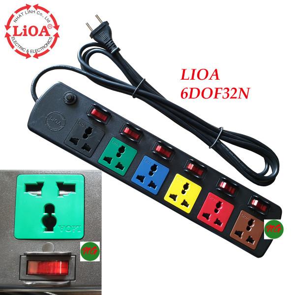 Ổ cắm điện 3 chấu dây dài 3 mét LIOA 6DOF32 - 6 ổ cắm 6 công tắc riêng - công suất 2000 watt giá rẻ